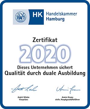 """Zertifikat """"Qualität durch duale Ausbildung"""" der Handelskammer Hamburg."""