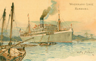 Postkarte der Woermann-Linie