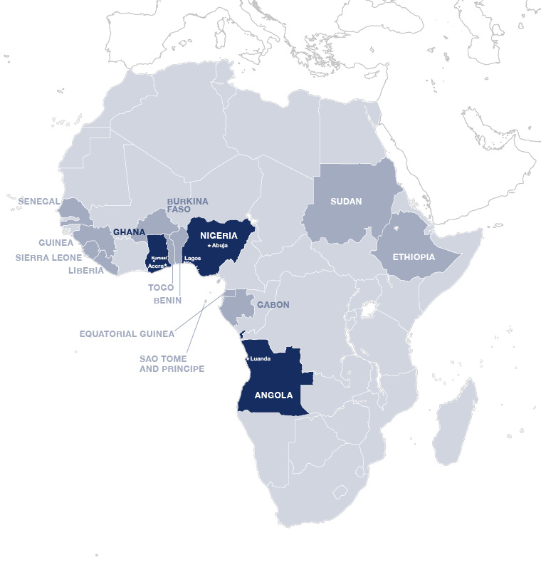 In these countries we are currently active in Africa