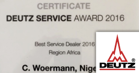 C. Woermann named DEUTZ Best Service Dealer 2016